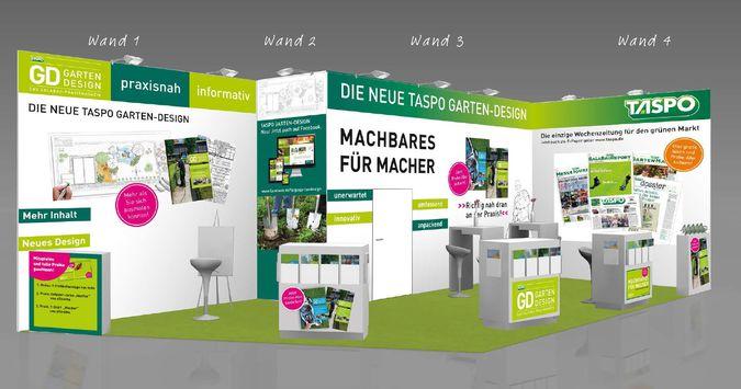 In neuem Look präsentiert sich die TASPO GARTEN-DESIGN auf der Messe in Nürnberg. Grafik: Haymarket
