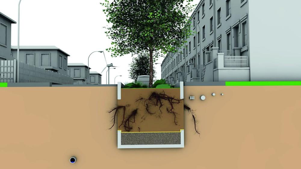 Grundkonfiguration einer Baum-Rigole: Betonbehälter, der einem Sickerschacht ähnelt. Abbildung: Sieker
